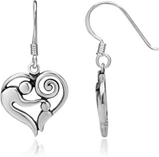 925 Sterling Silver Mom and Child Heart Hug Love Dangle Earrings