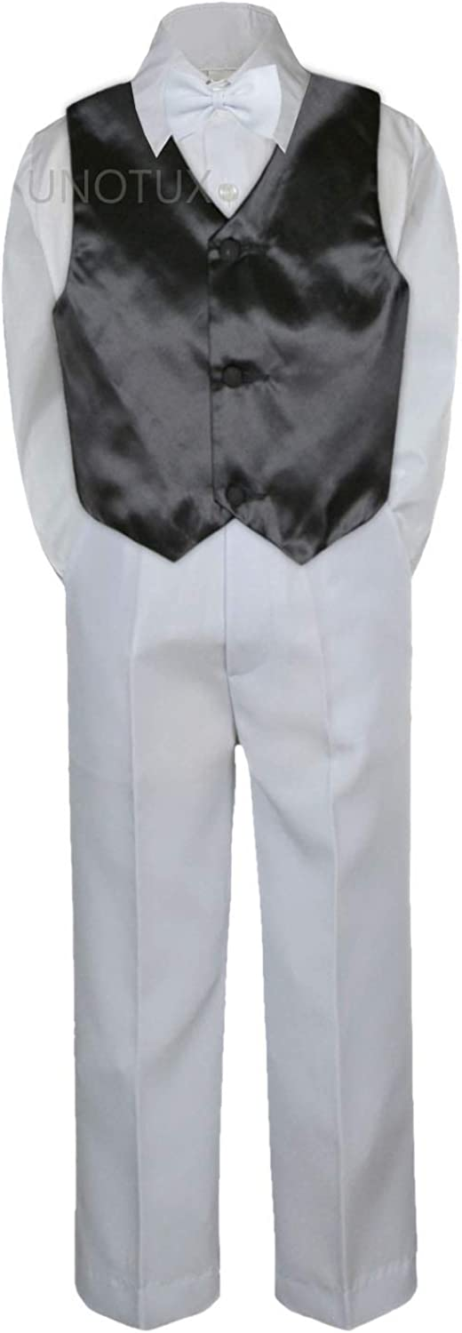 4pc Baby Toddler Boy Teen Formal Suit White Pants Shirt Vest Bow tie Set SM-4T