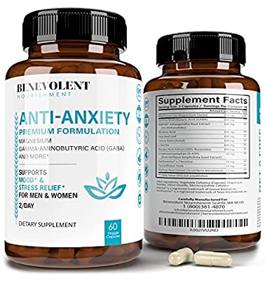 Anxiety and Stress Relief Supplement - Mood Support, Sleep Aid, Anti Anxiety Pills - GABA 5-HTP, Ashwagandha, L-Theanine, Rhodiola Rosea & Magnesium Supplement Formula for Calm - 60 Veggie Capsules