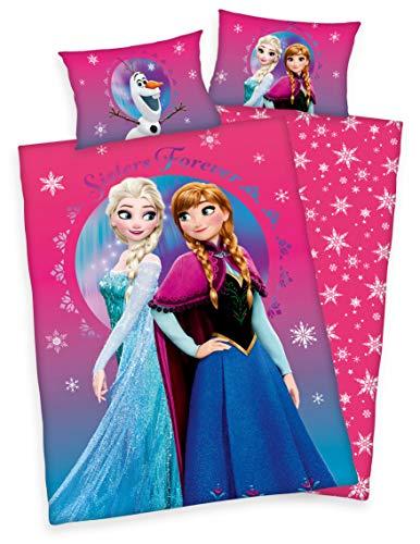 Disney Kinder Bettwäsche Frozen - Die Eiskönigin 40 x 60 cm 100 x 135 cm Baumwolle mit Reißverschluss