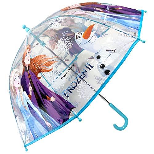 Paraguas Frozen 2 Ana y Elsa Paraguas Transparente Cúpula Infantil Paraguas Fibra de Vidrio Resistente Antiviento Paraguas Niña Niño 64cm
