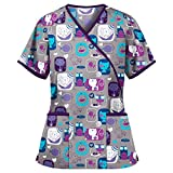Women's Cat Dogs Tops with Pockets and Tie Rope 3D Cute Animals Graphic Print V Neck Short Sleeve Shirt Gray