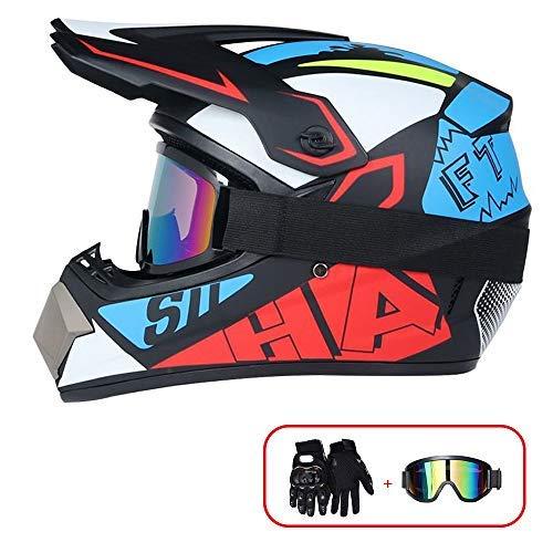 R&P Casco da motocross, set di caschi da MTB integrale per adulti da esterno Casco da motociclista per moto da fuoristrada da fuoristrada in discesa (rosso-blu, L)