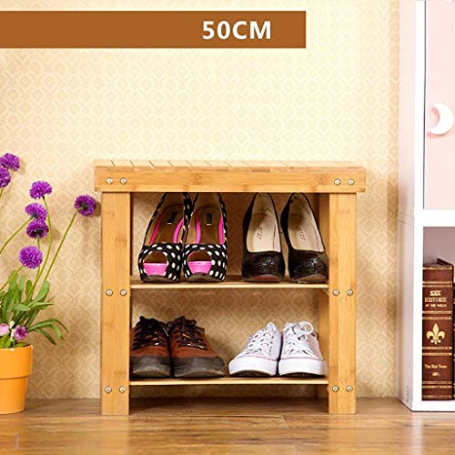 ZLININ Zapatero de bambú natural simple estante de almacenamiento de zapatos de repuesto de múltiples capas para zapatero multifunción