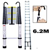6.2m/20.34 ft Silver Aluminum Extension Telescopic Ladder wiht Roof Hook Multi-Purpose Straight Telescoping...