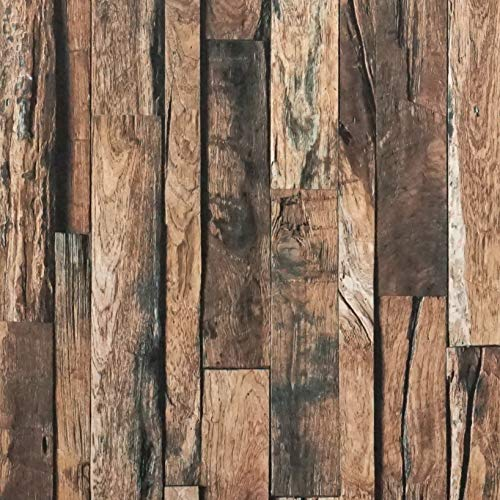 Reclaimed Wood Contact Paper Rustic Wallpaper Wood Peel and Stick Wallpaper Removable Distressed Faux Wood Plank Wallpaper Self Adhesive Decorative Vinyl Film Shelf Drawer Liner Roll 17.7'x78.7'