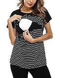 Hawiton Kurz Umstandsshirt Streifen Stillshirt Umstandstop Schwangerschaft Nursing Umstandsmode,Schwarz,M