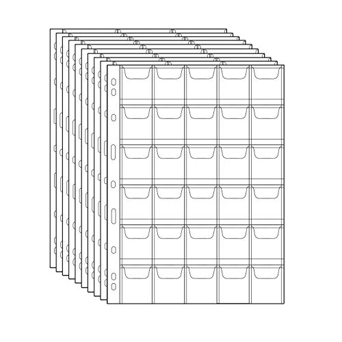 Stamp Pocket Pages - 30 Pocket/Page Plastic Coin Holders Stamp Currency Protector Coin Collecting Supplies 10 Sheets, 35mm x 35mm Each Pocket