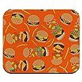 Motif Hamburger Cheeseburger avec Frites et Bacon Tapis de Souris Mince Profil Bas Tapis de Souris 25x30cm
