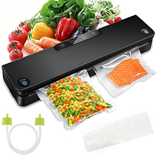 Vacuum Sealer Machine, STYFSCP Automatic Food Saver Vacuum Sealer Machine With Air Sealing System, Dry & Moist Modes, Led Indicator Light, Food Vacuum Sealer for Food Preservation with 15 Pack Vacuum Sealer Bags