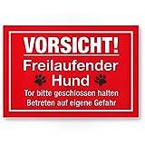 Vorsicht freilaufender Hund (rot) - Hunde Kunststoff Schild, Hinweisschild Gartentor/Gartenzaun -...