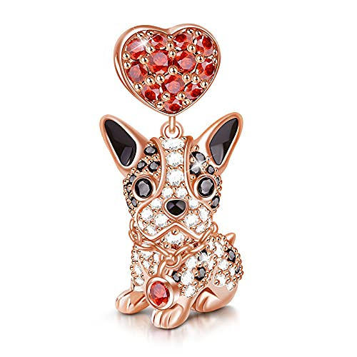 Gnoce Dog Charms 925 Sterling Silver Corgi Schnauzer Poodle Pendant Dangle Animal Beads Charms fit all Bracelets & Necklaces Best Gift for Mom Friends Girls Who Like Dogs (Bulldog)