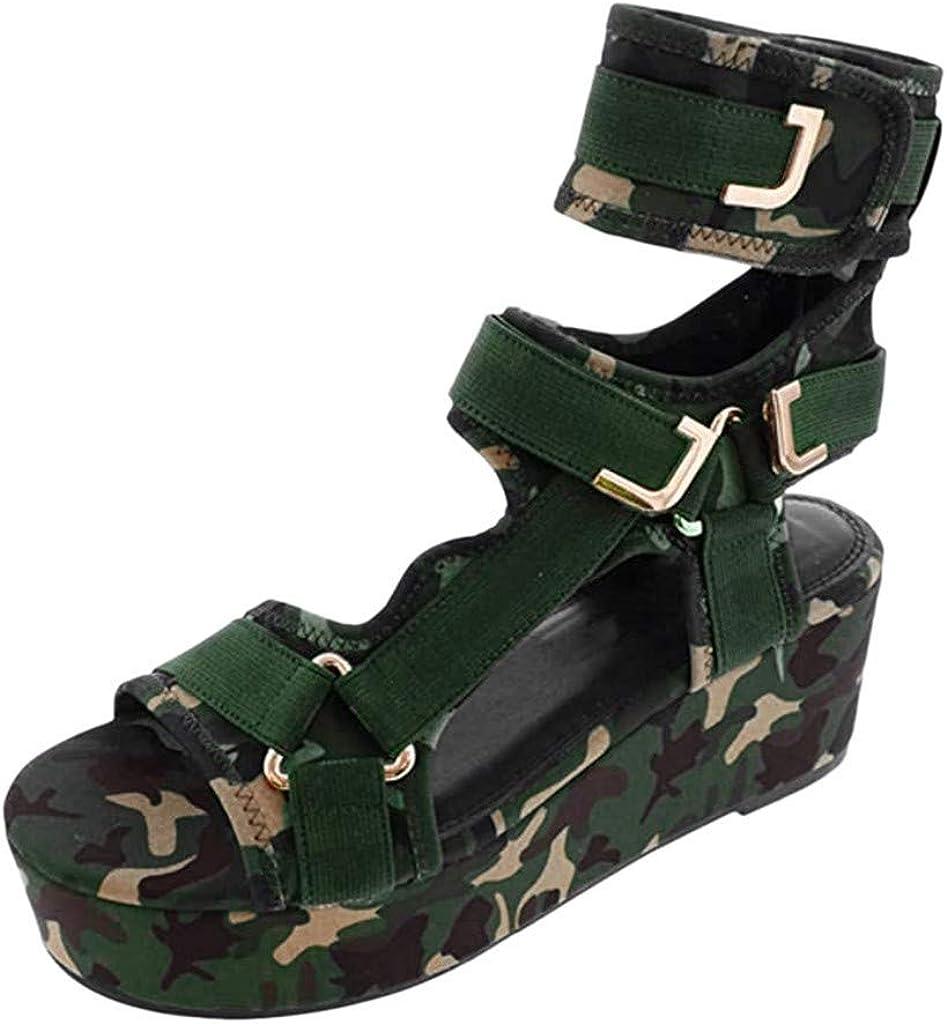 Women's Platform Sandals, Summer Ankle Strap Wedges Comfortable Velcro Thick Bottom Tie Leg Sandal Shoes