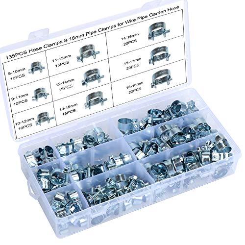 HSEAMALL 135-teiliges Schlauchschellen-Set, 8–18 mm, verzinkt, Mini-Einspritzleitungsschellen für Waschmaschinen-Abwasserrohre, Draht, Kabel, Gartenschlauch, Ablaufschläuche