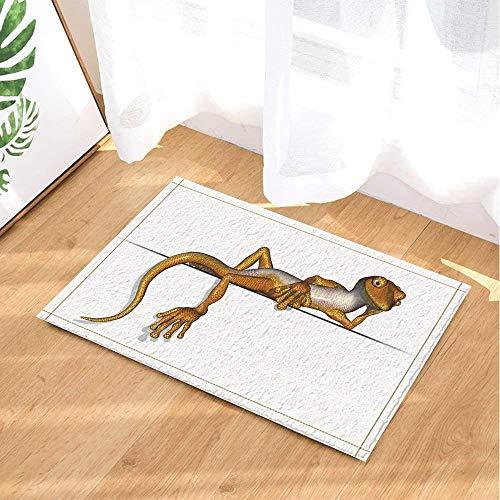 SHUHUI Estera de baño Absorbente Antideslizante de la Estera del Piso de la Estera de la Ducha de la impresión del Gecko