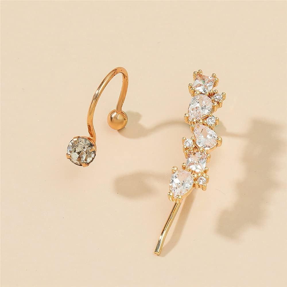 CUTIHO Bohemian No Piercing Rhinestone Earrings Set Girls Wrap Stud Clip Fake Cartilage Ear Studs Women Fashion Earrings Jewelry - Type 1