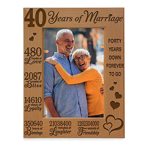 KATE POSH 40 Years of Marriage Engraved Natural Wood Picture Frame, 40...