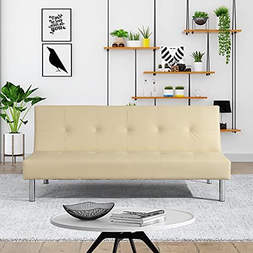 Divano letto Lucky 3 posti reclinabile ecopelle 3 posti - casa - ufficio - e piedi in metallo (Ecopelle, Crema)