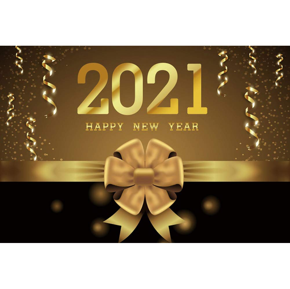 DaShan 14x10ft 2021 Happy New Year Backdrop 2021 New Year Eve Party Photography Background Gold Glitter Stars Sparkle New Year Winter Party Banner Christmas Festival Xmas YouTube Photo Props