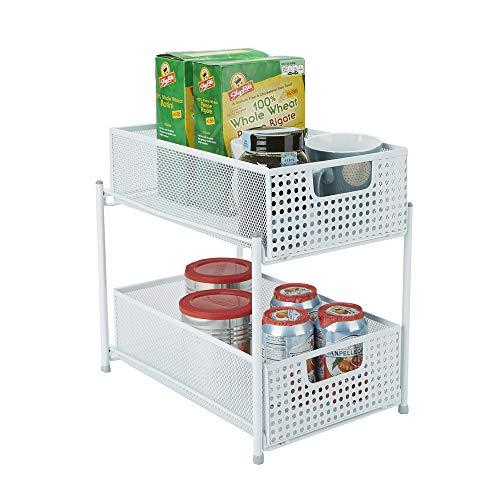 Mind Reader Cabinet Mesh Storage Baskets Organizer Home Office Kitchen Bathroom One Size White 2 Tier Heavy Duty