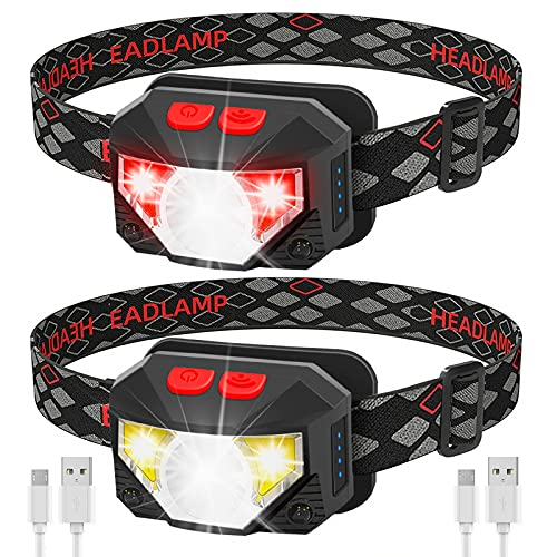LED USB Rechargeable Headlamp-1100 Lumen Bright 30 Hours Time Headlight with Red Light,2-Pack Waterproof Motion Sensor Head Lamp Flashlight with 8 Modes Head Lights for Adults and Children