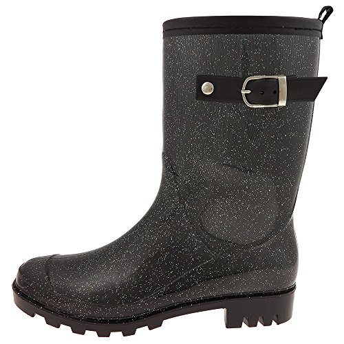 Capelli New York Solid Ladies Short Basic Body Jelly Rain Boot Black Combo 8