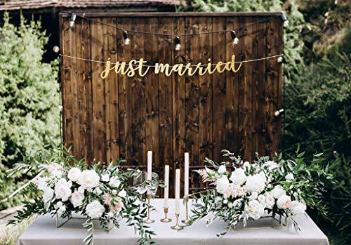 Just Married Banner de recepción de boda Banner de mesa de novia y novio Banner recién casados Banner decoración de boda Banner