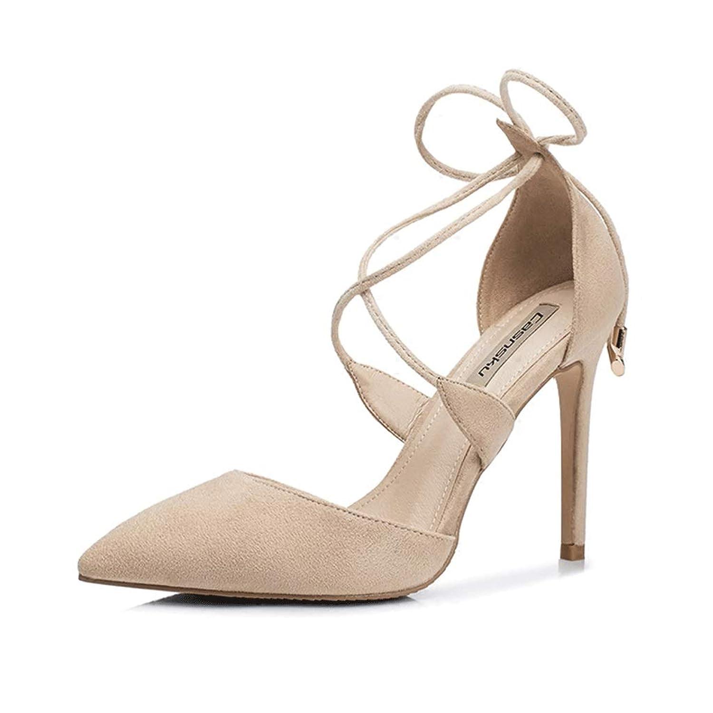 ヌードカラーハイヒールスティレットクロスストラップ浅い口尖ったハイヒール女性の夏のセクシーなサンダルの結婚式の靴 (色 : Beige 8.5cm, サイズ さいず : 34)