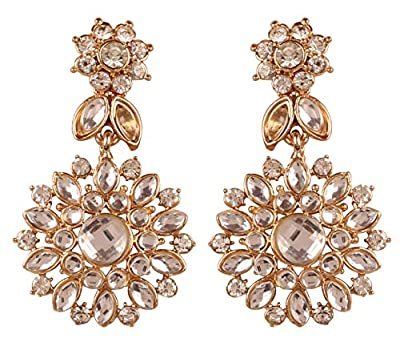 """NEW! Touchstone""""Contemporary Kundan Collection"""" Indian Bollywood Mughal Inspired Kundan Polki Look Rhinestone Designer Jewelry Long Earrings Gold Tone For Women."""