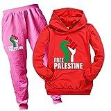Zheart Palestina libre con capucha para niños unisex niños dibujos animados manga larga camiseta gratis Palestina sudadera para niños niñas