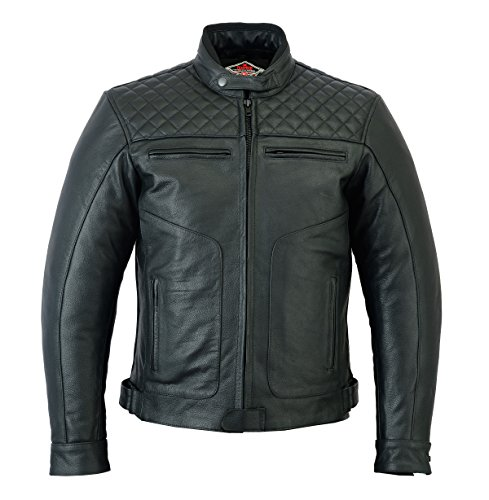 Motorjas Texpeed voor heren zwart verouderde look kwalitatief hoogwaardig rundleer