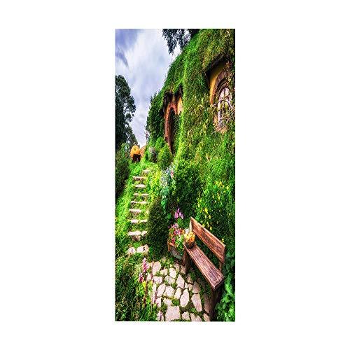 KEXIU 3D Parque de hierba verde PVC fotografía adhesivo vinilo puerta pegatina cocina baño decoración mural 77x200cm