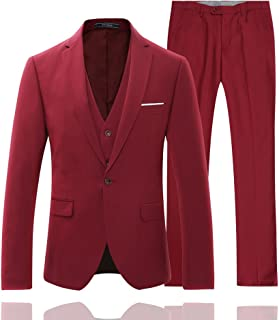 YFFUSHI Men's Slim Fit One Button 3 Piece Suit