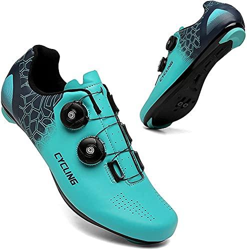 CHUIKUAJ Zapatillas de Ciclismo Hombre Mujer Bicicleta de Carretera Zapatillas Peloton Zapatillas de Montar SPD Compatibles Interior/Exterior,Blue-46EU