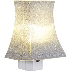 GE Glitter Shade LED Night Light Plug-in, Dusk-to-Dawn, Home Décor, for Girls, Ideal for Bedroom, Nursery, Bathroom, Hallway, Kitchen, 11559,