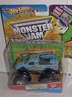 2012 HOT WHEELS GRAVE DIGGER 30TH ANNIVERSARY 1:64 BACKWARDS BOB MONSTER JAM TRUCK WITH EXCLUSIVE 30TH ANNV. GRAVE DIGGER POSTER
