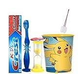 Pokemon Inspired 4pcs Bright Smile Oral Care Bundle! Toothpaste, Flashing Light Toothbrush, Brushing Timer & Mouthwash Rinse Cup! Plus Bonus Stickers & Tooth Necklace as Visual Aid Reminder!