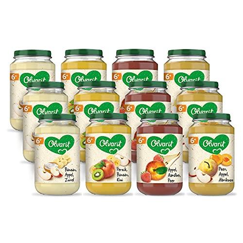 Olvarit Variatiemenu Fruit - fruithapje voor babys vanaf 6+ maanden - 4 verschillende smaken babyvoeding - 12 fruitpotjes van 200 gram