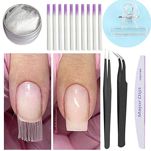 Kit per unghie in fibra di vetro, Anself Kit di gel per unghie per unghie in fibra di vetro per unghie in fibra di vetro (senza colla)