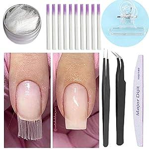 Anself Uñas de fibra Uñas de acrílico de vidrio Uñas de extensión de fibra de vidrio Kit de gel Herramienta de salón # 2