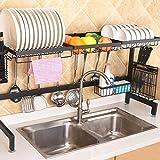 JINYANG Étagère de Cuisine 92cm Bol en Acier Inoxydable Plat Fruit Basket Couteau en Bloc Chopsticks vidange Rack Support de Stockage, Version Deluxe (Noir) (Color : Black)