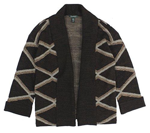 Ralph Lauren Damen Pullover mit Geo-Print, vorne offen, Gr. L, Braun -  mehrfarbig -  Groß