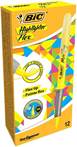 BIC Highlighter Flex Marcadores Punta Flexible – Amarillo, Caja de 12 unidades