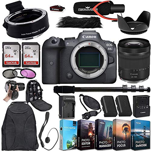 Canon EOS R6 Mirrorless Digital Camera with RF 24-105mm STM Lens and Mount Adapter EF-EOS R Bundle + Deluxe Accessories Kit