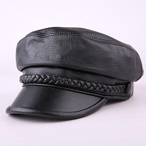 MM-hat Schatten Hut Herren und Damen Freizeit Ziegenleder Lederkappe Frühling Herbst Wintermütze Flache Kappe gemütlich (Color : Black, Size : L)