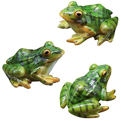 3 StüCk Simulation Kleinen GrüNen Frosch Miniatur Gartenfrosch Figuren KüNstlicher Frosch Statue Garten Deko Harz Frosch Figur Frosch Tier Ornamente Harz Fee Gartenfiguren ZubehöR FüR Garten Teich