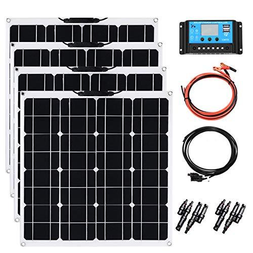 YUANFENGPOWER Solarmodul 200w kit 4pcs 12V 50W Solarpanel Monokristallin Solarzelle Photovoltaik Solarladegerät Solaranlage Flexibel für Auto Batterie, Wohnmobil, Camper, Boot, 12V Batterien (200)