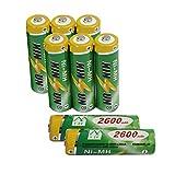 KINSUN 8-Paquete baterías Recargables NiMH Pilas AA 1,2V 2600mAh para cámara Digital Reproductor MD afeitadora Cepillo de Dientes
