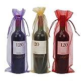 Sacchetti per bottiglie di vino in iuta con coulisse, riutilizzabili, decorative, per matrimoni, feste, vacanze Organza rossa, viola e oro.