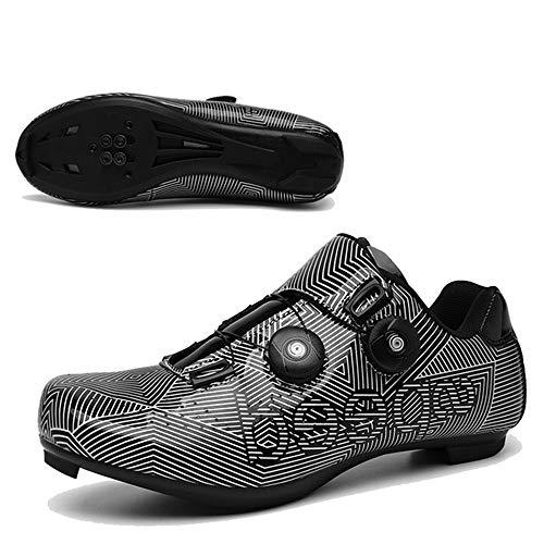 JINHU Antideslizante Zapatos De Ciclo, Transpirable Fibra De Carbono Carretera Ultralight Profesionales Respirables Al Aire Libre De Los Zapatos De Ciclismo Zapatillas De Ciclismo De Ruta(45, Black)